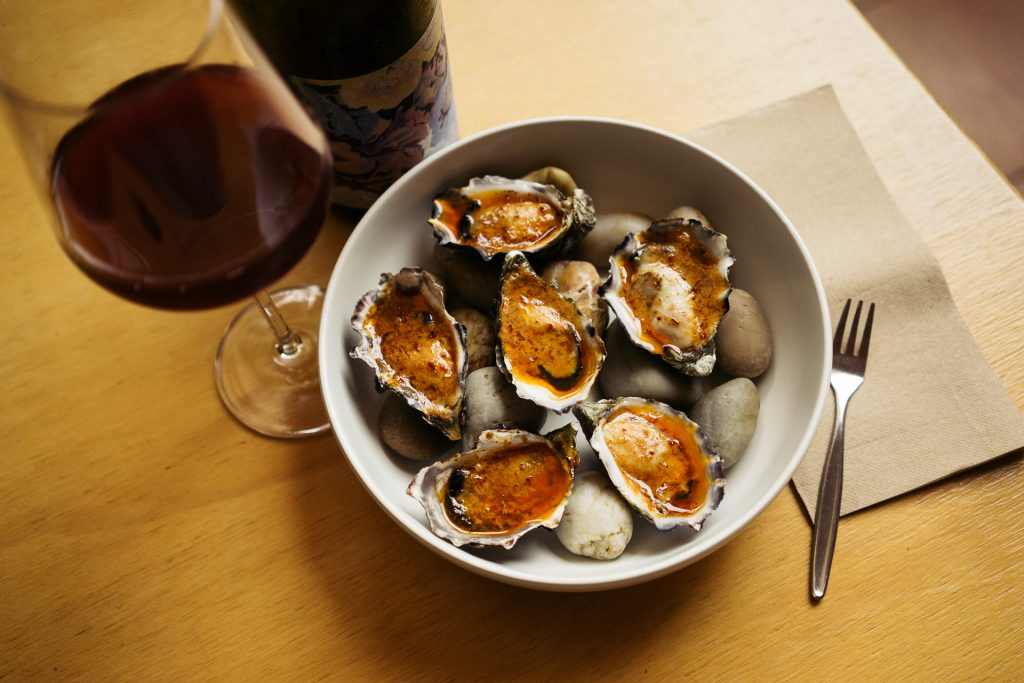 grilled bourbon and chipotle oysters